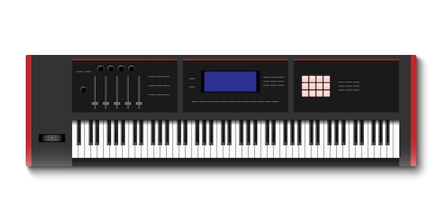Top view of synthesizer keyboard isolated on white background
