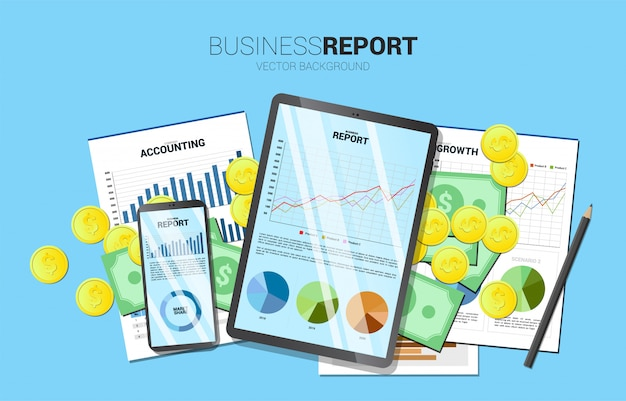 Top view table business report in mobile phone and tablet with paper and money.