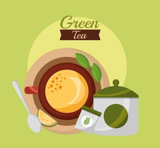 Сверху чайная ложка чайной ложки и чайная чашка чая
