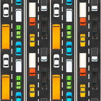 Top view of traffic jam with lots of realistic glossy cars on highway, seamless pattern