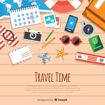 Top view travel elements background