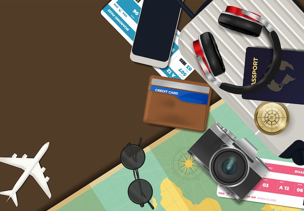 Top view on travel and tourism concept background