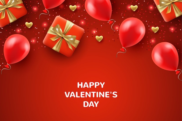 Top view valentine's day background with realistic gifts, hearts and balloons