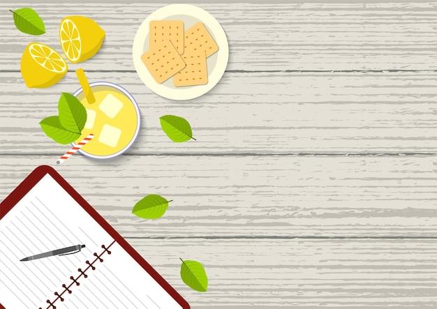 レモネードビスケットとノートブックと健康的なライフスタイルの上面ベクトル図