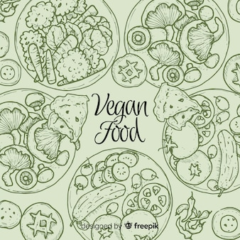 Top view of vegan dishes on restaurant table