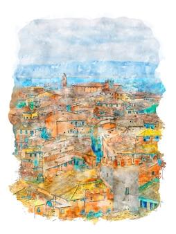 해변 마을 해변 마을 포스터 다채로운 도시 수채화 그리기의 상위 뷰 수채화 작업