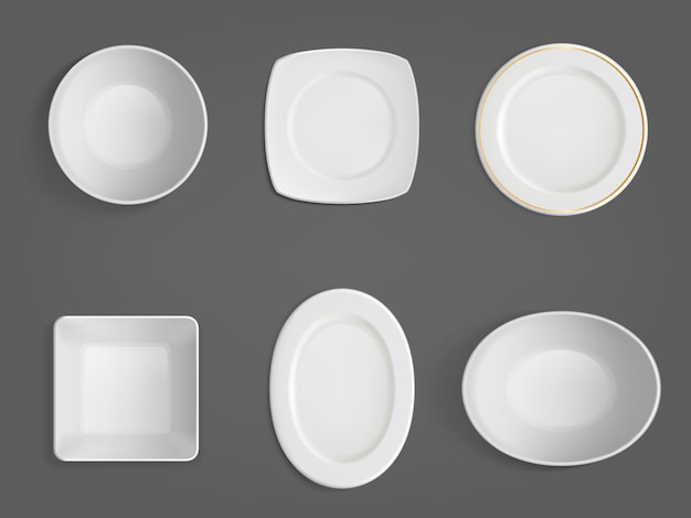 Top view of white different shapes bowls