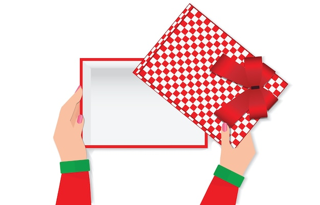 Top view of woman hands holding a empty gift box