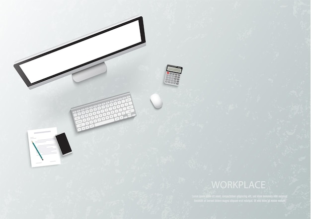 Top view of workplace elements