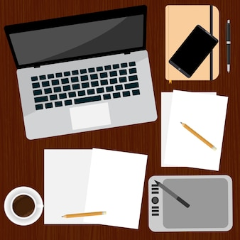 Top view of workplace flat illustration