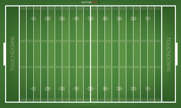 Top views of american football field. green grass pattern for sport background.