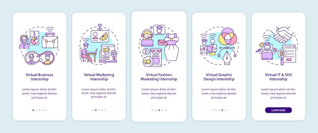 Top virtual internship areas onboarding mobile app page screen. business, marketing walkthrough 5 steps graphic instructions with concepts. ui, ux, gui vector template with linear color illustrations
