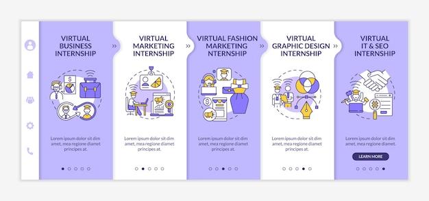 Лучшие виртуальные области стажировки онбординговый векторный шаблон. адаптивный мобильный сайт с иконками. веб-страница прохождение 5 экранов шагов. цветовая концепция дистанционного бизнес-обучения с линейными иллюстрациями