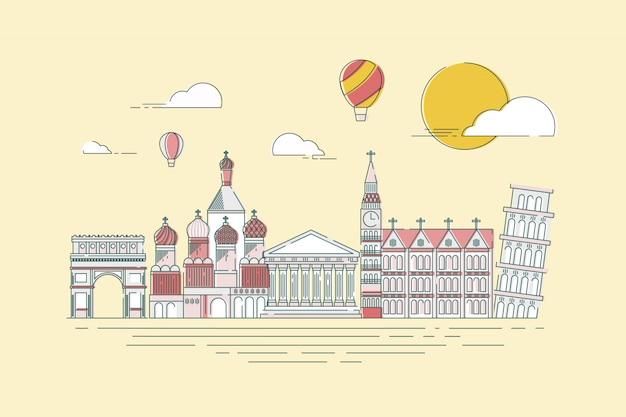 여행 개요를위한 세계적으로 유명한 랜드 마크