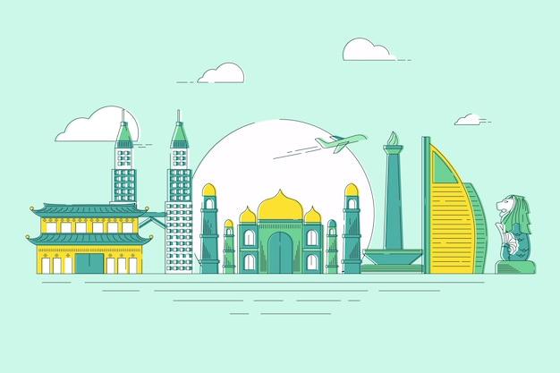 여행 스카이 라인을위한 최고의 세계적으로 유명한 랜드 마크