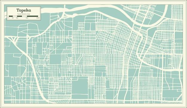 복고 스타일의 topeka 캔자스 미국 도시 지도. 개요 지도. 벡터 일러스트 레이 션.