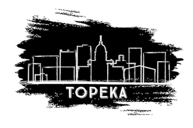 Город топика канзас сша на фоне линии горизонта силуэт. рисованный эскиз. векторные иллюстрации. деловые поездки и концепция туризма с исторической архитектурой. город топика с достопримечательностями.
