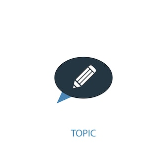 Topic concept 2 colored icon. simple blue element illustration. topic concept symbol design. can be used for web and mobile ui/ux