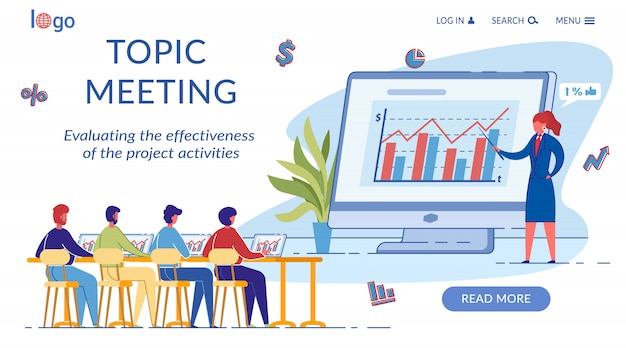 Topic meeting landing page template