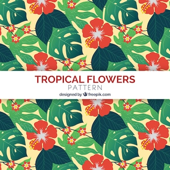 Topical flowers pattern with flat design