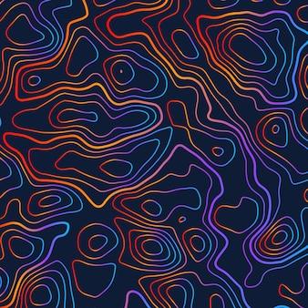 Топографический красочный фон иллюстрации контура