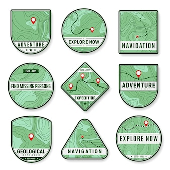 Topographic icons. expedition, area exploration and geological research vector icons. navigation pin or marks, travel destination, expedition or trip route, relief contour lines topographic map