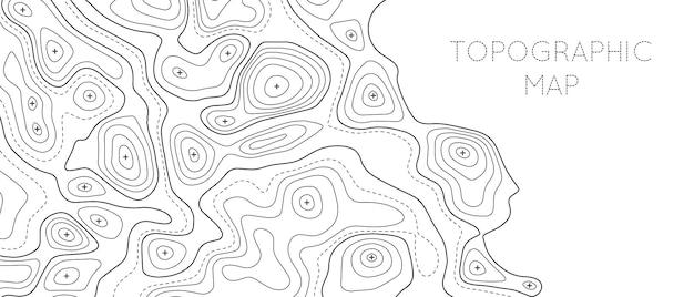 Шаблон топографической линейной карты. высота контура топографические и текстурированные фон географической сетки для пеших прогулок и горных видов спорта. векторная иллюстрация