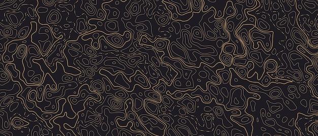 지형 라인 맵 패턴. 어두운 배경에서 지리적 지도 제작 지형의 주황색 윤곽 및 질감된 배경. 가로 배너입니다. 벡터 일러스트 레이 션
