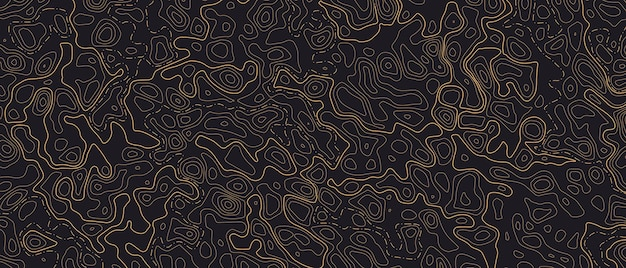 Topographic line map patterns. orange contour and textured background of geographic cartography terrain on dark backdrop. horizontal banner. vector illustration