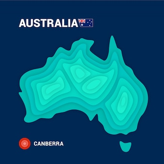 Topographic map of australia. 3d cartography concept