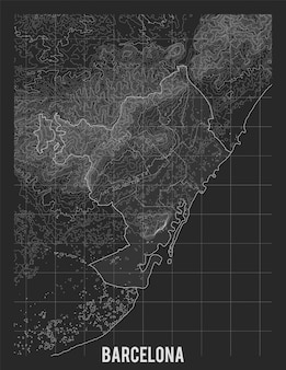 Topographic map of barcelona