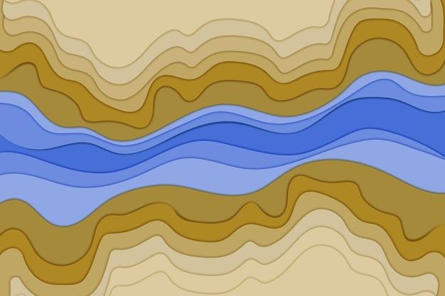 Концепция топографической карты или макет вырезки из бумаги с гладкими слоями оригами