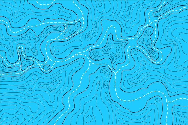 Topographic map contour lines water colours