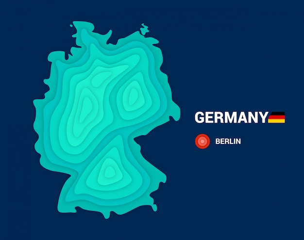 Topographic map of germany. 3d cartography concept