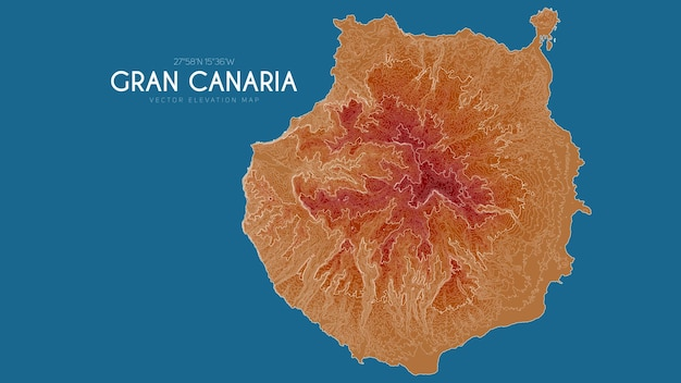 Topographic map of gran canaria, canary islands, spain.