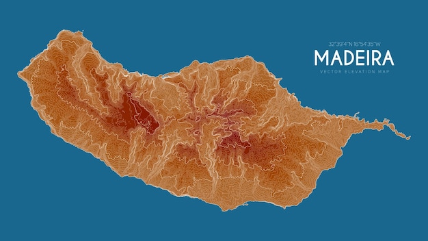 Topographic map of madeira, portugal.