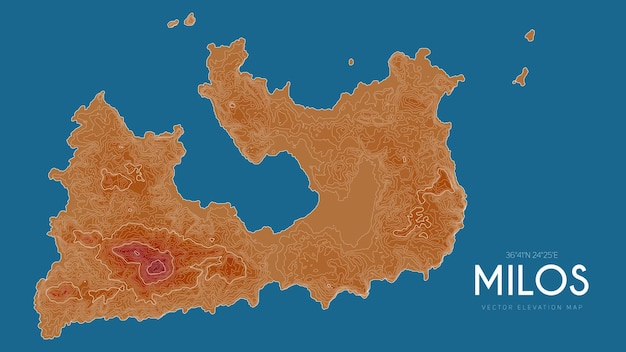 Topographic map of milos, greece.