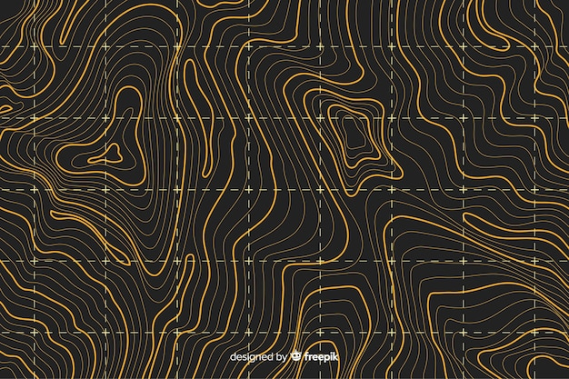 Topographic yellow lines background