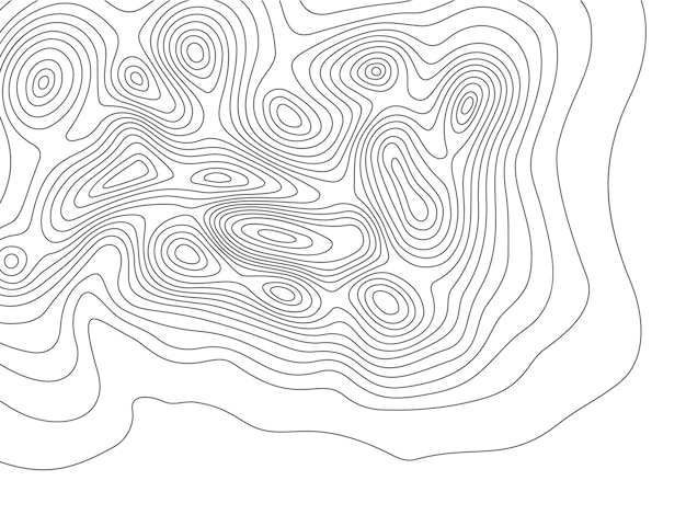 Topography map. cartography mountains contour lines, elevation maps and earth contoured line topology