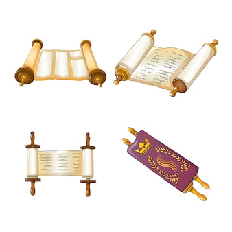 Torah scroll bible icons set