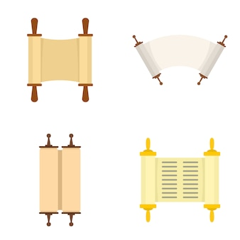 Torah scroll book bible icons set
