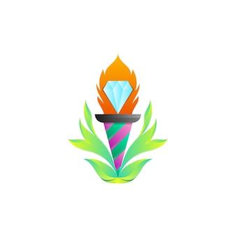 Факел алмаз логотип дизайн шаблона