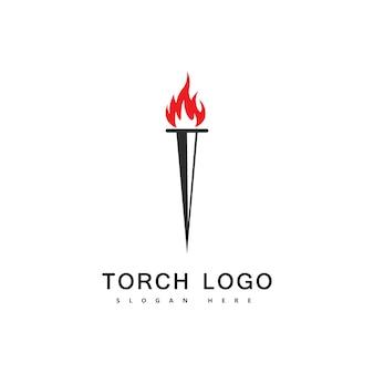 Torch fire logo vector icon