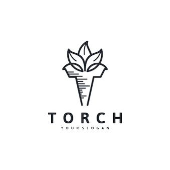 Torch logo,combination with leaf concept
