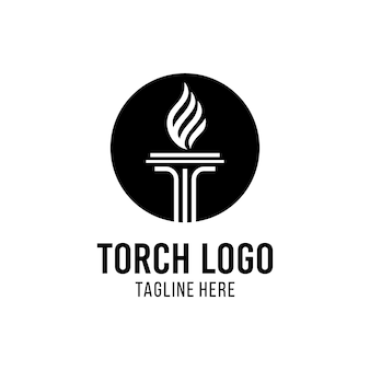 Torch logo design inspiration with law icon and shield