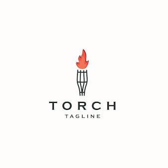 Torch logo icon design template flat vector