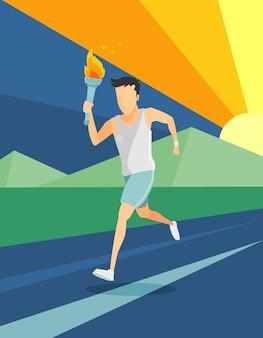 A torch runner vector