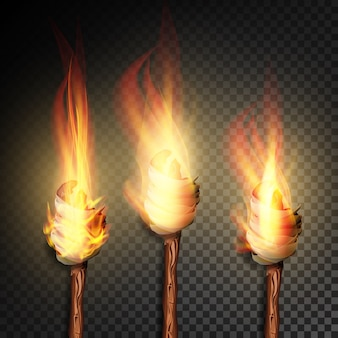 Torch with flame set on dark transparent background