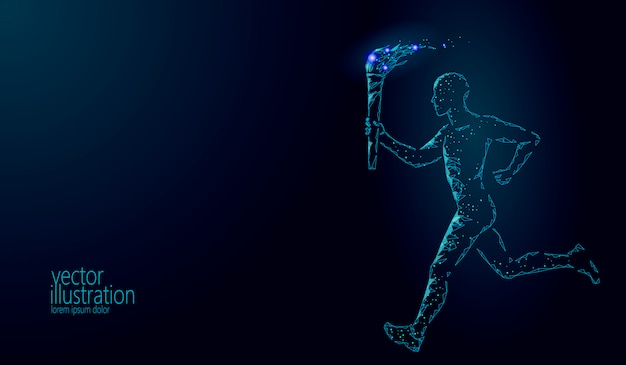 Torchbearer hold fire torch athlete run illustration
