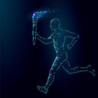 Torchbearer hold fire torch athlete run illustration